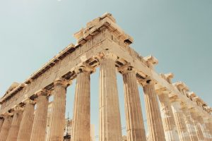 A picture looking up at The Parthenon. Museum of Illusions optical illusion example.