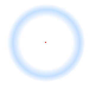 Troxler's Fading Circle. A red dot inside of a blue circle, the optical illusion will cause the blue circle to fade away when you stare at the red dot.