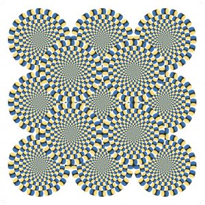 The rotating circles illusion that is a part of the Museum of Illusions NYC galleries.