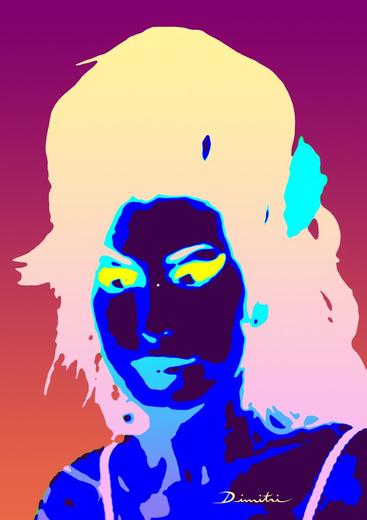 An afterimage illusion of Amy Winehouse created by Dimitri Parant. Used for the Museum of Illusions NYC blog.