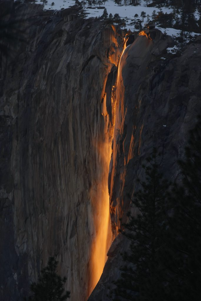 A photo of Yosemite's Horsetail Falls by Bill Woolf used for the Museum of Illusions NYC blog.